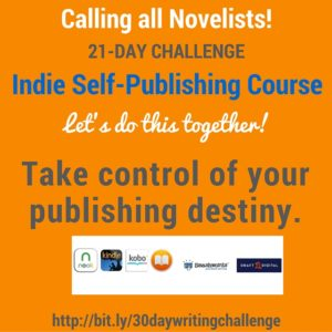 Calling all novelists! 21-day challenge, Indie Self-Publishing Course, let's do this together! http://bit.ly/30daywritingchallenge